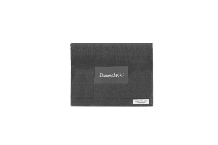 Dreamaker cotton jersey fitted sheet charcoal