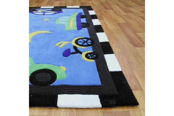 Fun Automobile Traffic Rug Blue 220x150cm