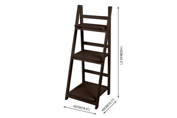 3 Tier Wooden Ladder Shelf Stand Storage Book Shelving Display Rack