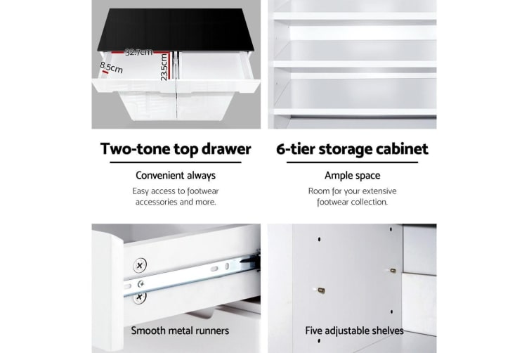 Artiss Shoe Cabinet Shoes Storage Rack Organiser Drawers 30 Pairs High Gloss