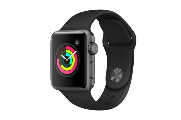 Apple Watch Series 3 (Space Grey, 38mm, Black Sport Band, GPS Only)