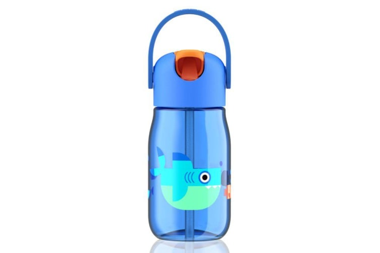 Zoku Blue Kids Flip Straw Bottle with Shark Graphic 400ml
