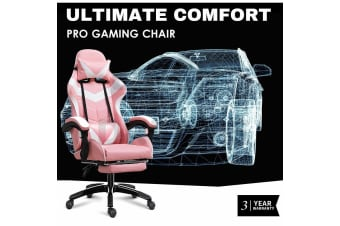 Ultimate Comfort Pro Gaming Chair Racing Office Chair Pink with Footrest