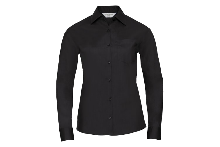 Russell Collection Ladies/Womens Long Sleeve Shirt (Black) (L)