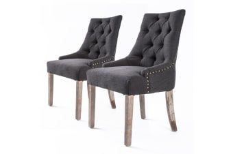 2X French Provincial Oak Leg Chair AMOUR - BLACK