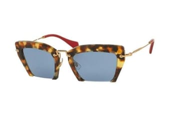Miu Miu MU10QS - Light Havana (Blue Silver Mirror lens) Womens Sunglasses
