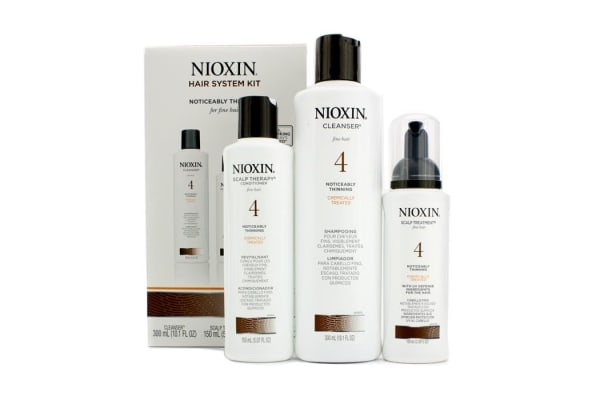 Nioxin System 4 System Kit for Fine Hair, Chemically Treated, Noticeably Thinning Hair: Cleanser 300ml + Scalp Therapy 150ml + Scalp Treatment 100ml (3pcs)