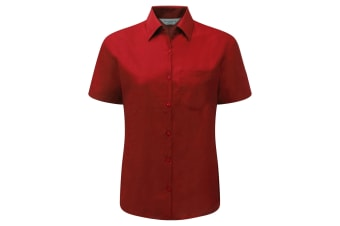 Russell Collection Ladies/Womens Short Sleeve Poly-Cotton Easy Care Poplin Shirt (Classic Red)