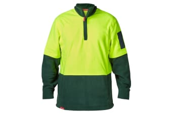 Hard Yakka Men's Hi-Vis Two Tone Polar Fleece 1/4 Zip Jumper (Yellow/Green, Size 2XS)
