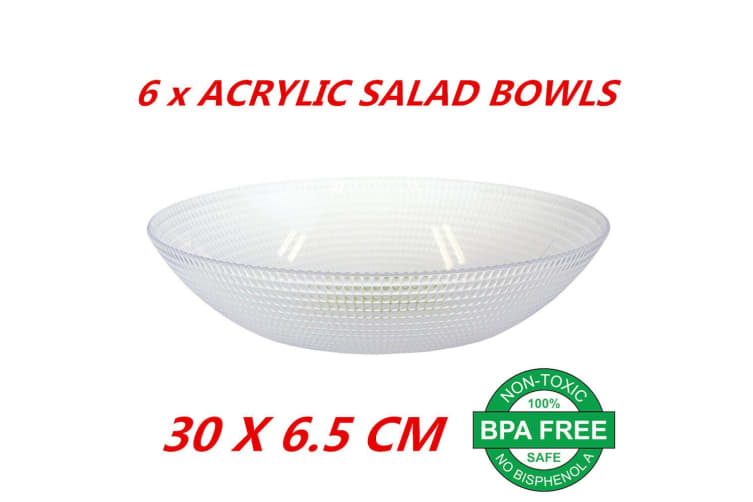 6 x Large Acrylic Salad Fruits Snacks Food Serving Bowl Mixing BPA Free 30x6.5cm