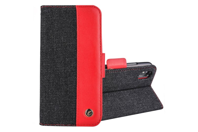 For iPhone XS Max Case Denim Genuine Leather Wallet Card Slot Cover Black  Red