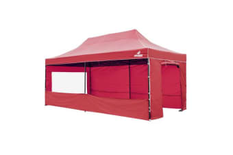 3x6m Gazebo Frame + Roof + Side Cover - RED