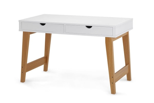 Scandinavian Style Desk ovela 2 drawer desk - finse collection (white) - kogan