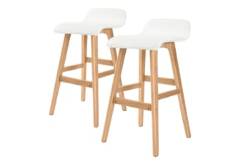 2X 65cm Oak Wood Bar Stool Leather SOPHIA - WHITE