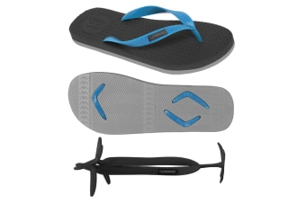 Men's Black/Grey Thongs with 1x Pair of Interchangeable Electric Blue Straps