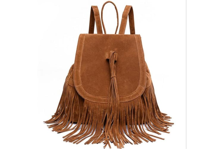 Women's Fringed Backpack Tassel Shoulder Bags Brown