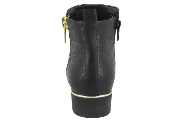 Spot On Girls Ankle Boots (Black/Gold) (UK 2)