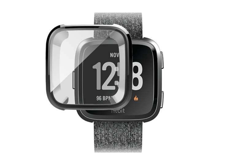 Cover Case For Fitbit Versa Smart Band,Ultra-Thin Soft Plating Tpu Silicone Watch Casing Guard Black