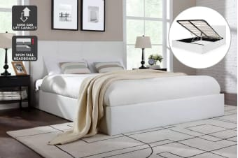 Ovela Bed Frame - Florence Gas Lift Collection (White, King)