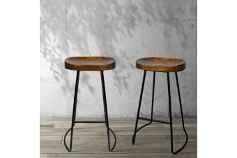 Artiss Vintage Tractor Bar Stools Retro Bar Stool Industrial Chairs Black 75cmX2