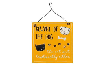 Beware Of The Dog Metal Sign (Yellow) (One Size)