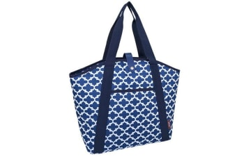 Sachi 48cm Insulated Thermal Cooler Shopping Bag Carry Picnic Moroccan Navy