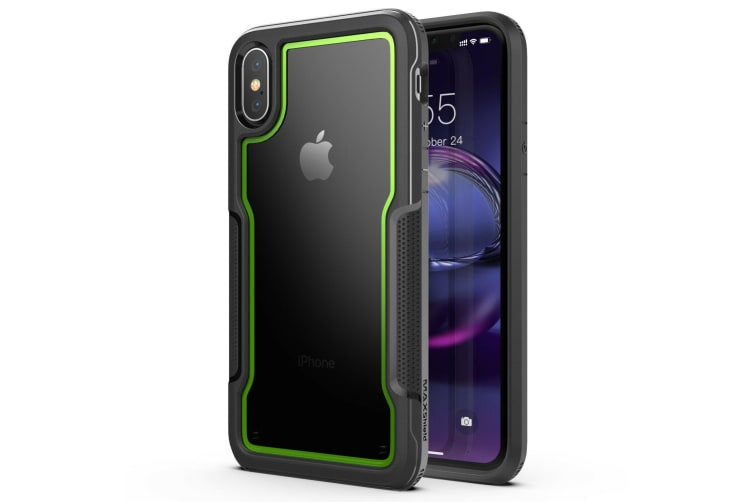 MAXSHIELD Slim Clear Heavy Duty ShockProof Case for iPhone X/XS-Green