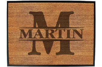 Doormat Medium 40 X 60Cm INITIAL-MARTIN - Funny Novelty Birthday Doormat Floor Mat Floormat Door Personalised Gift Present New Home Christmas Custom Pet Dog Cat Entrance Welco
