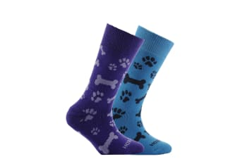 Horizon Childrens/Kids Patterned Socks (Pack Of 2) (Paw Print Purple and Teal)