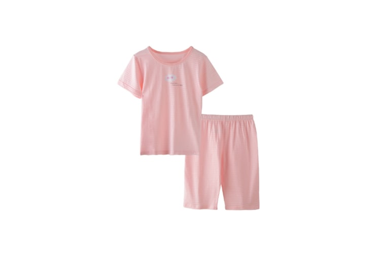 2Pcs Boys Girls Soft Cotton Short Sleeved Home Suit - 7 Pink 130Cm