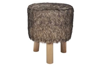 vidaXL Plush Round Footrest with 3 Wooden Feet Brown