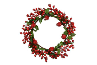 40cm Christmas Red Berry Wreath Holly Door Wall Decoration Holiday Decor