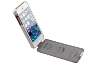 For iPhone 5C Case Fashion Stylish Vertical Flip Genuine Leather Cover White
