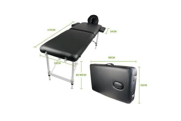 Aluminium Portable Massage Table 55cm - BLACK