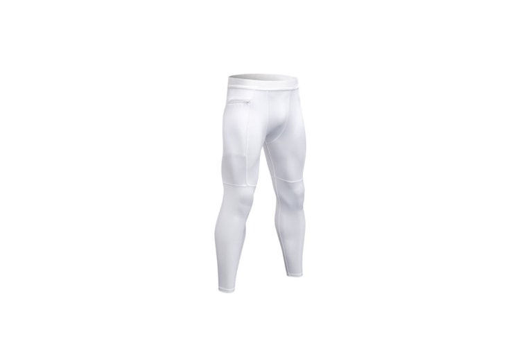 Men'S Compression Pants Pocket Baselayer Cool Dry Ankle Leggings Active Tights - White White XXL