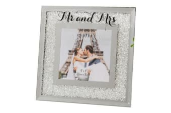 Widdop Celebrations Crystal Border Mr And Mrs Photo Frame (Silver) (For W13 x H18cm photograph)
