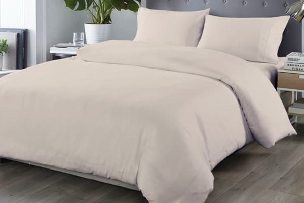 Royal Comfort Blended Bamboo Quilt Cover Sets (Queen,Warm Grey)