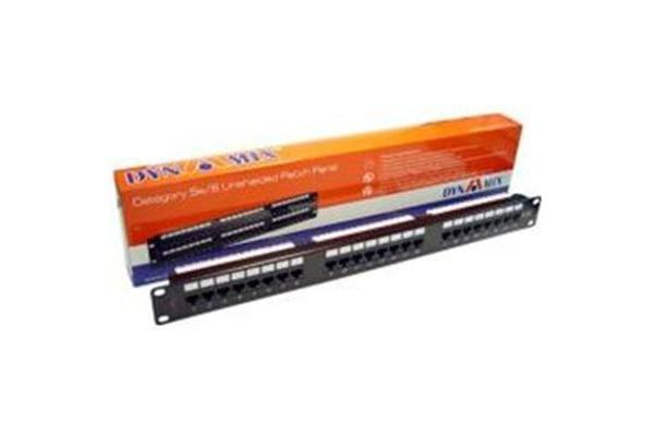 Dynamix 24 Port Cat5e UTP Patch Panel T568A & T568B Wiring. 1RU. 110 termination.