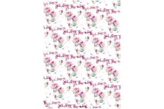 Simon Elvin 24 Sheets Designer Female Gift Wraps (White/Floral)