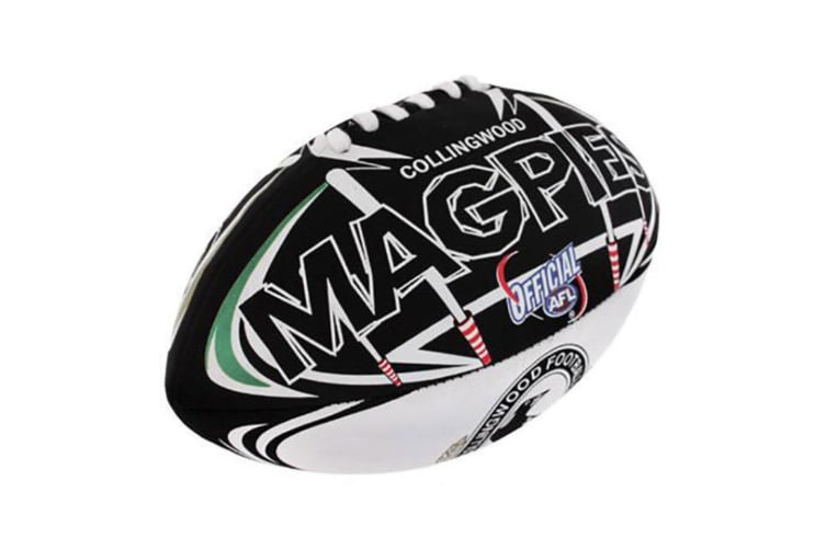 Summit AFL Collingwood Magpies 20cm Large/Soft Rugby Ball Play/Game/Toys Kids