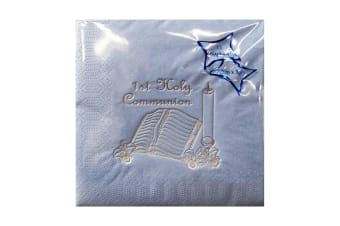NPK First Holy Communion Foil Printed Napkins (Pack Of 15) (Blue)