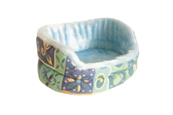 Pennine Fur-Lined Drop Front Pet Bed With Removable Cushion (Blue)