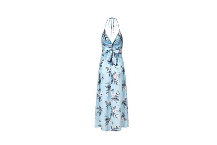 Women'S Sexy V Neck Backless Floral Print Split Maxi Party Dress Blue L