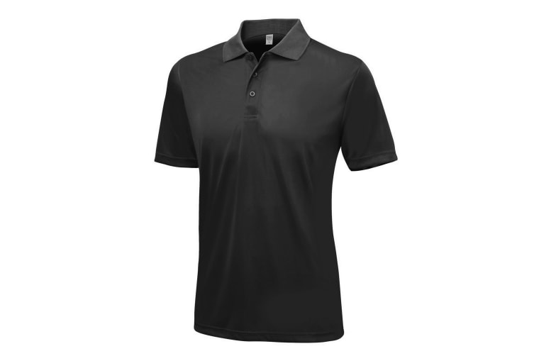 AWDis Just Cool Mens Smooth Short Sleeve Polo Shirt (Jet Black) (XXL)