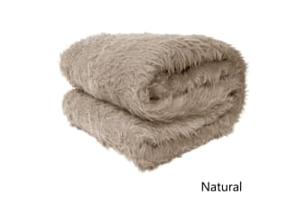 Short Faux Lamb Fur Throw Rug Natural by Artex