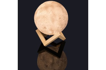 Moon LED Touch Lamp Rechargeable Night Light & Wooden Stand 15cm