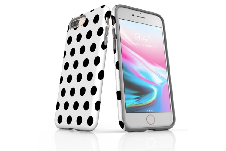 For iPhone 7 Plus Protective Case Unique Phone Cover  Black Polka Dots