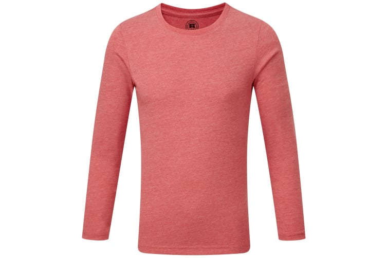 Russell Childrens/Boys Long Sleeve HD T-Shirt (Red Marl) (7-8 Years)