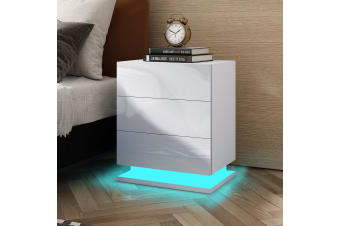 White High Gloss Front Bedside Table Three Drawer Nightstand with RGB LED