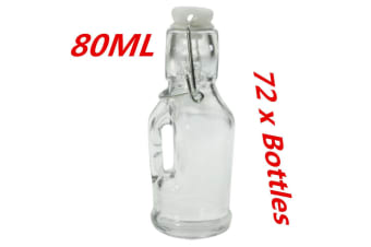 72 x Mini Small Glass Clip Jars 80ML with Handle Wedding Favors Lolly Jar Oil Bottle